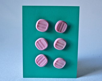 6 Vintage Square Pink Glass Buttons for Sewing and Crafts