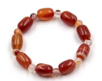 14mm*10mm Fashion Agate Gemstone Prayer Beads Tibetan Buddhist Wrist Bracelet  T3298