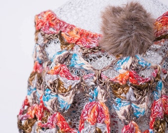 Chrochet multicolour poncho ,capelet , with big eco pompon broch ready to weare free sise