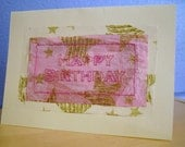 Hand Stitched Pink Birthday Card, Pink Embroidered Birthday Card
