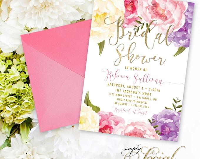 Floral Bridal Shower Invitation - Floral Peony Blush Faux Gold Foil Boho Flowers Purple Watercolor Botanical Romantic Printable Party Invite
