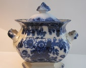 Antique Staffordshire Walley Indian Stone - 1860s Burslem Flow Blue Lidded Bowl - Covered Serving Dish with Handles