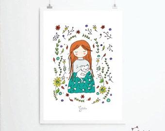 Nature Lady Cat Print