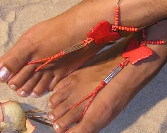Happi Feet, Butterfly barefoot sandals, destination wedding shoes, beach wedding shoes, The Orange Butterflies HF115