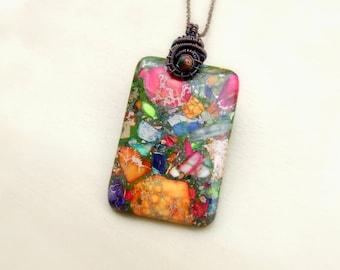Boho stone necklace, rainbow jasper copper pendant, multicolor stone jewelry, bohemian necklace
