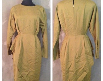 70% OFF Vintage 1980s Army Green Olive Taunton Vale Wool Peplum Dress 40 S/M (e)