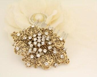Vintage Gold Wedding hair comb,Rhinestone Bridal hair comb Vintage gold,Wedding hair accessories,Wedding head piece,Bridal hair piece,Bridal