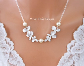 WEDDING NECKLACE Bridal Pearl Necklace, ORCHID Flowers Pearls Wedding Jewelry Bridesmaid Gift Sterling Silver