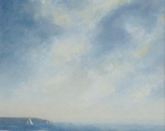 Original painting coast ocean beach sky sailing cloud