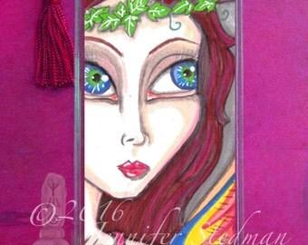 Fantasy art bookmark, retro, woodland creature, big eyes, red hair, tattoo bird, redhead