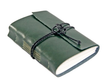 Forest Green Faux Leather Journal  - Travel Journal - Art Journal - Prayer Journal - Ready To Ship - Blank Paper Journal - Diary - Wedding -