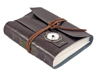 Dark Brown Faux Leather Journal  - Travel Journal - Bird Cameo - Prayer Journal  - Vegan Journal - Diary - Ready to Ship - For Her - For Him