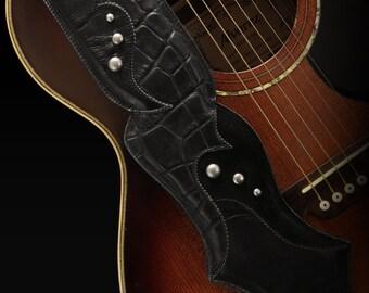 Black Guitar Strap, Guitar Strap Leather:  Vitrinox Guitar Strap
