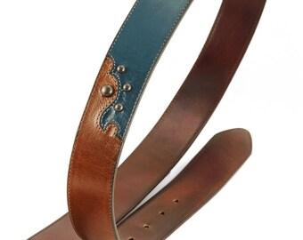 Leather Belt, Brown Leather Belt:  Amberquoise Belt