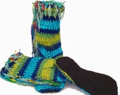"Slipper Socks, 12"" Tall,Non Skid Bottom, Boho Slipper Socks,Women's Slipper Socks,Handmade Socks,Fairy Clothes,Faerie,Gypsy Style"