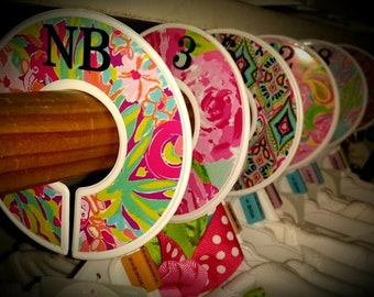 Set of 6 Closet Dividers, Labeled for Infant Sizes, Lilly P Inspired Closet Organizers, First Impressions, Let's Cha Cha Scuba to Cuba Lucky