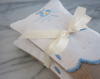 Blue Embroidered Lavender Sachets - Set of Two Large Sachets - Antique Linen - French Linen