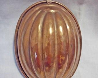Antique vintage tinned Heavy Copper ribbed Melon Jello Mold