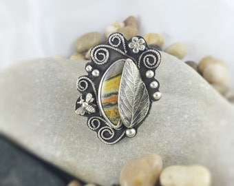 Bumble Bee Jasper Ring, Whimsical Bee Ring, black and yellow ring, gemstone ring