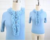 1960s Turbo Blue Fringe Sweater