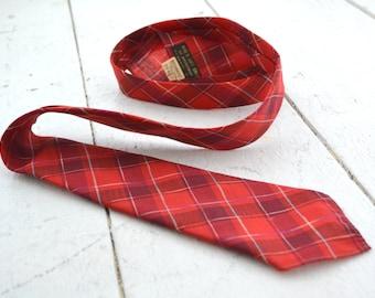 1950s Botany Red Plaid Wool Tie