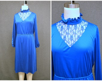 1970s Royal Blue Lace Inset Dress