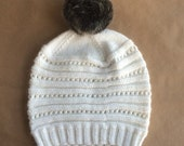 Knit Wool Silk Angora Ladies Hat with Black Pompom - Winter White - Ready to ship