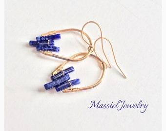 Geometric Lapis Lazuli Earrings, 14k gold filled wire