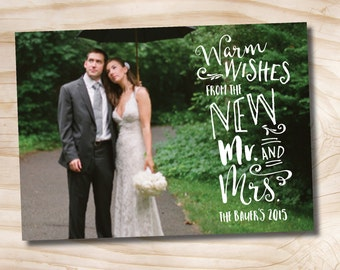 Photo Christmas Card newlywed just married chistmas card Typography - Printable digital file or printed cards