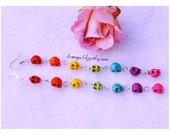 2 Pairs of Rainbow Skull Dangle Earrings For Kristikittenkris