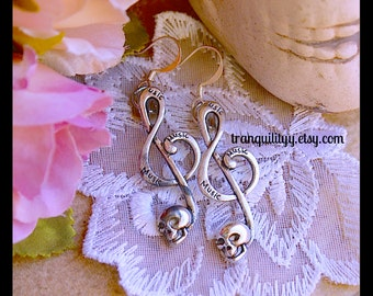 Skull Earrings , Music Note Skeleton Earrings , Goth, Emo, Day of the dead , Steampunk. By: Tranquilityy
