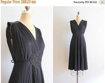 SALE / vintage 70s grecian inspired dress / 70s crystal pleated dress - black disco dress / LBD - little black dress - polyester party dress