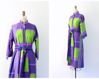 vintage 70s Catherine Ogust dress / 1970s purple cotton kaftan dress - signature iconic print / 70s designer dress - graphic color block