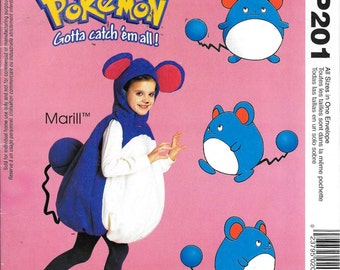 McCall's P201 Pokemon Marill Costume Boy's & Girl's Sewing Pattern Children's Size 4 - 8
