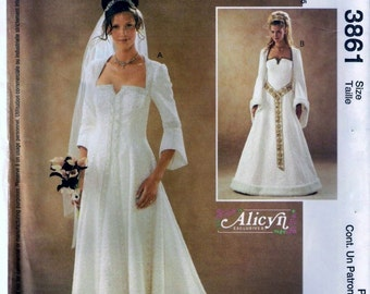 McCall's 3861 Medieval Renaissance Wedding Dress Gown Costume Sewing Pattern Size 18, 20, 22 and 24 UNCUT