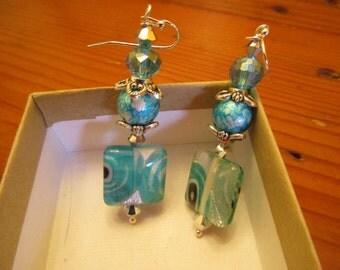 Fine Turquoise MURANO Hand-Blown Italian Venetian Glass w/SWAROVSKI Crystals & STERLING Silver Vintage Dangle/Drop Pierced Earrings