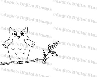 Owl On A Tree Limb Digital Stamp Image