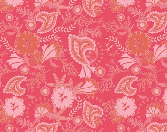 Emily Taylor for Riley Blake Designs - CHATSWORTH - Floral in Coral - Paisley - Cotton Fabric