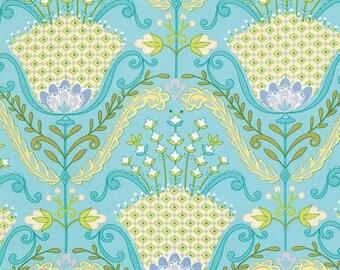 Dena Fishbein Design's - LITTLE AZALEA - Hyacinth - Aqua - Cotton Fabric - 1 yard