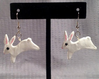 White Hopping Bunny Earrings.  Polymer clay