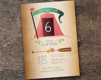"DIGITAL ""Glamping"" Birthday Invitation •• PRINTING also available ••"