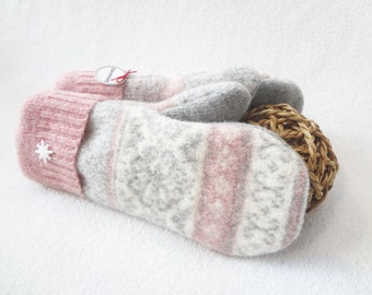 Felted Wool Mittens Pink ROSE QUARTZ & GREY Fair Isle Nordic Eco-Friendly Sweater Mitts Fleece Lined Mittens Gift for Women by WormeWoole