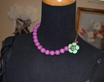 Choker Boho Purple Necklace Vintage Chic Festival Hippie Choker