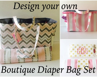 DESIGN YOUR OWN Boitique Diaper Bag, changing pad, diaper clutch, monogrammed, waterproof lining