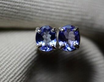 Tanzanite Earrings, Genuine Tanzanite Stud Earrings 1.08 Carats Appraised at 594.00 Sterling Silver Blue Tanzanite Jewelry