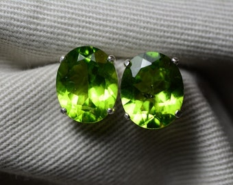 Peridot Earrings 7.11 Carats Appraised At 600.00, Sterling Silver Genuine Green Peridot Jewelry, August Birthstone
