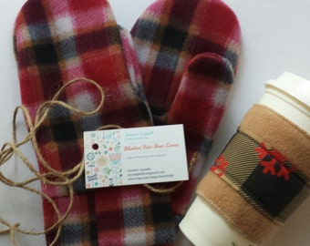 Red Plaid Mittens, Get a pair to match your favorite Rain Boot Liners, Gift under 10.00- Available in Sm/Med and Lrg/Xlrg