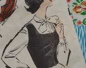 Vintage 1950s 1960s Sewing Pattern / Smart Fun Fitted Scoop Neck Waistcoat Vest and Tie Neck Blouse / UNCUT FF / Size 12 - 32 Bust