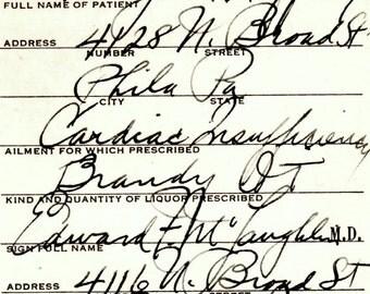 Rare Cardiologist Prohibition Brandy Heart Cardiac Insufficency Medicine Prescription Antique Pharmacy Bar Doctor McLaughlin Philadelphia PA