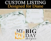 Diane's Wedding Invitation suites: 125, with double sided printing and cream envelope upgrade